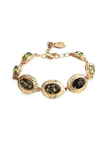 Gold-Plated Link Bracelet With Green Amber The Ellas, image