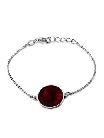 Silver Chain Bracelet With Dark Amber Stone The Monaco, image