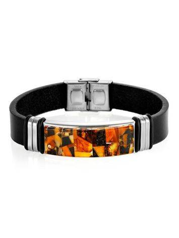 Leather Mens Wristband With Amber Mosaic The Grunge, image