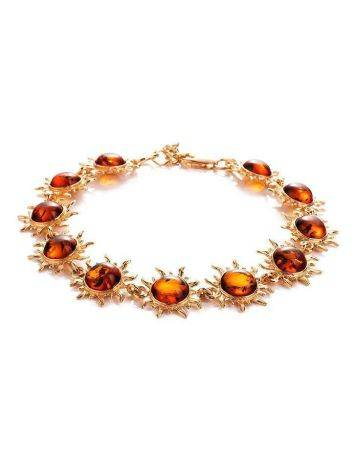 Gold-Plated Link Bracelet With Cognac Amber The Helios, image