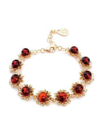 Gold Plated Link Bracelet With Cherry Amber Stones The Aster, image