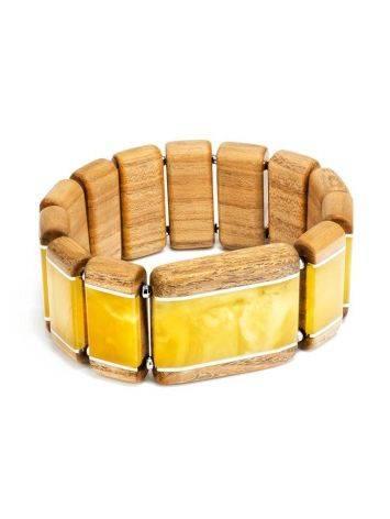 Wooden Elastic Bracelet With Honey Amber The Indonesia, image