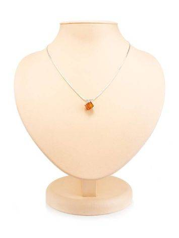 Silver Necklace With Geometric Amber Pendant The Sugar, image