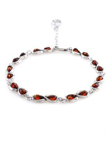 Cognac Amber Link Bracelet In Silver The Amour, image