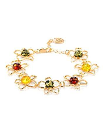 Gold-Plated Floral Bracelet With Multicolor Amber The Daisy, image