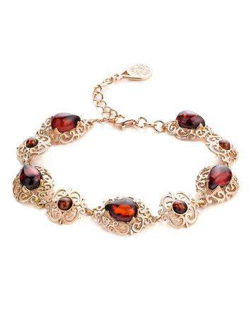 Cherry Amber Link Bracelet In Gold Plated Silver The Luxor, image