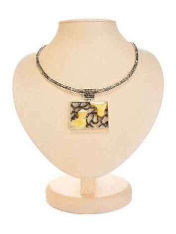 Sterling Silver Necklace With Cloudy Amber The Lava, image