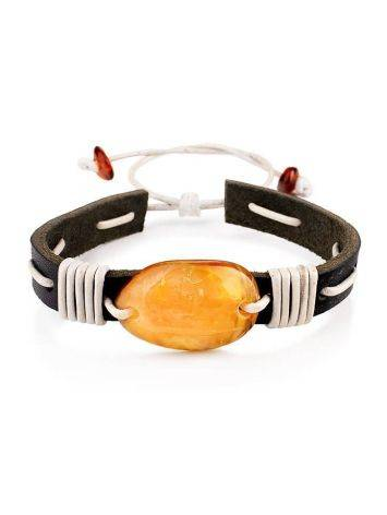 Leather Tie Bracelet With Honey Amber The Copacabana, image