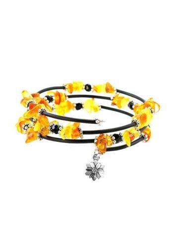 Amazing Clover Charm Bangle Bracelet With Natural Amber And Glass Beads, image