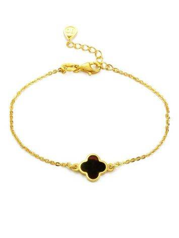 Gold-Plated Chain Bracelet With Clover Shaped Amber The Monaco, image