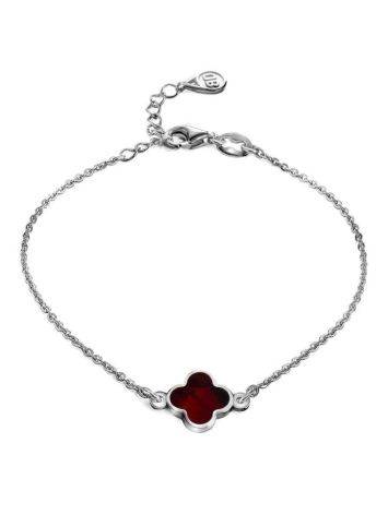 Thin Silver Chain Bracelet With Cherry Amber The Monaco, image