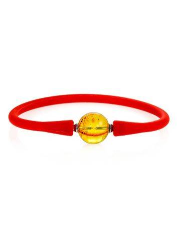 Red Silicone Bracelet With Natural Lemon Amber The Hawaii, image