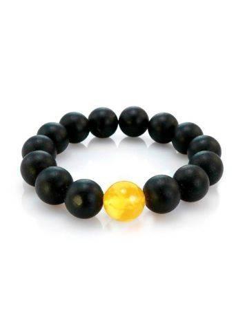 Unisex Black Amber Beaded Bracelet The Cuba, image