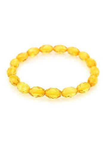 Faceted Lemon Amber Beaded Bracelet, image