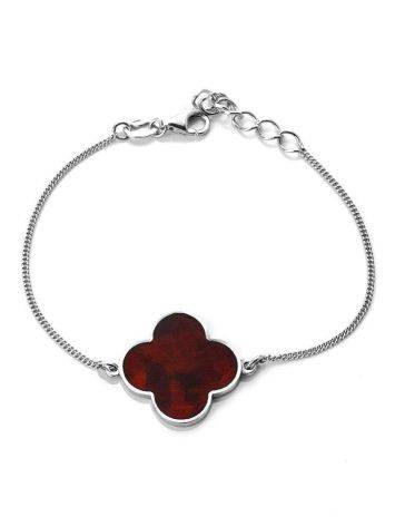 Sterling Silver Chain Bracelet With Clover Shaped Amber The Monaco, image