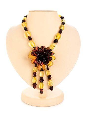 Two-Toned Amber Floral Necklace The Anemone, image