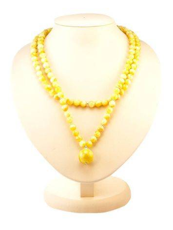 Double Strand Amber Ball Beaded Necklace With Pendant The Ariadna, image