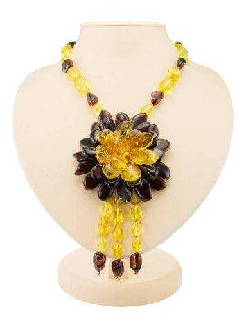 Amber Floral Necklace With Dangles The Anemone, image