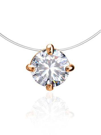 Bright White Crystal Invisible Necklace The Aurora Collection, Length: 42, image