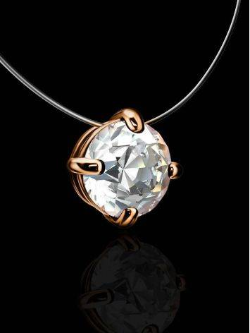 Bright White Crystal Invisible Necklace The Aurora Collection, Length: 42, image , picture 2