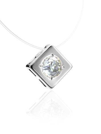 Fishing Line Necklace With White Crystal Pendant The Aurora, image , picture 3