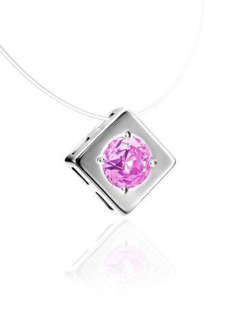 Fishing Line Necklace With Pink Crystal Pendant The Aurora, image , picture 3