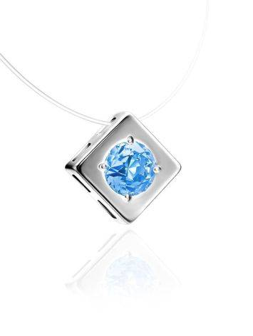 Stylish Fishing Line Necklace With Light Blue Crystal The Aurora, image , picture 3