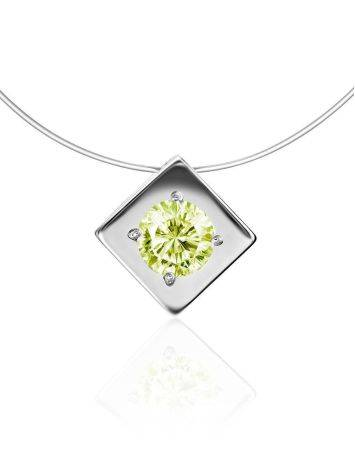 Minimalistic Fishing Line Necklace With Citrus Colored Crystal The Aurora, image