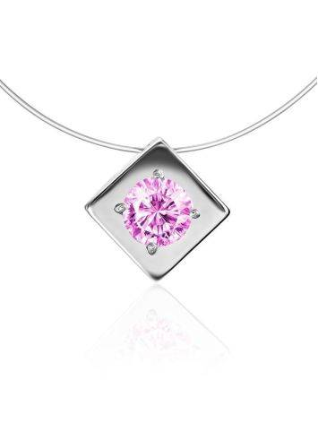 Fishing Line Necklace With Pink Crystal Pendant The Aurora, image