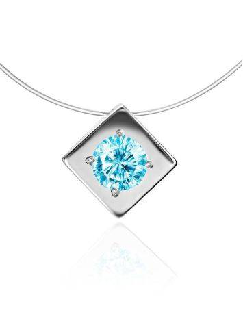 Stylish Fishing Line Necklace With Light Blue Crystal The Aurora, image