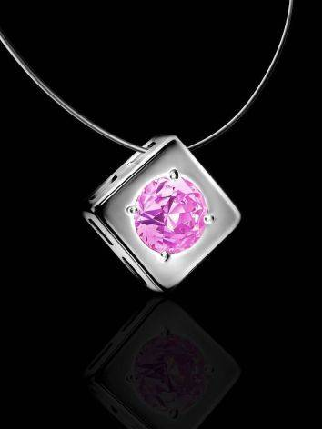 Fishing Line Necklace With Pink Crystal Pendant The Aurora, image , picture 2