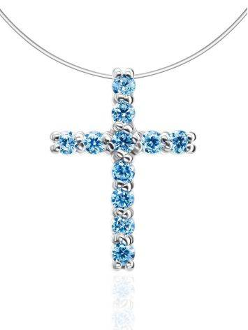 Invisible Necklace With Crystal Cross Pendant The Aurora, image