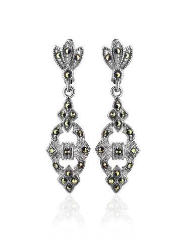Elegant Silver Dangle Earrings With Marcasites The Lace, image