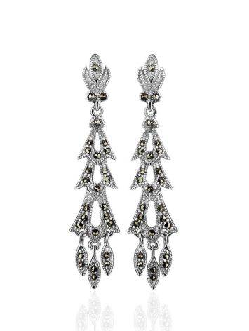 Elegant Sterling Silver Dangle Earrings With Dark Marcasites The Lace, image