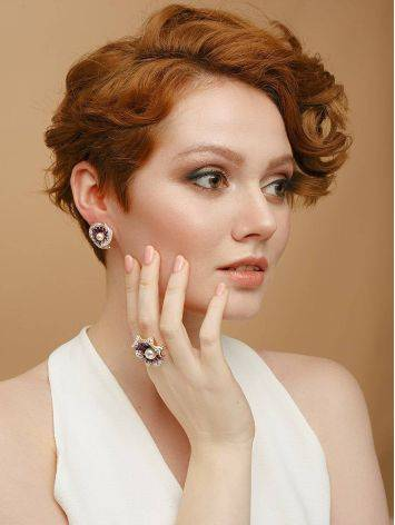 Floral Gold-Plated Earrings With Crystals And Cultured Pearls The Jungle, image , picture 4
