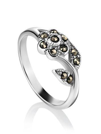 Silver Floral Ring With Marcasites The Lace, Ring Size: 6 / 16.5, image