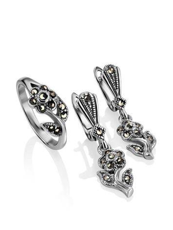 Silver Floral Dangles With Marcasites The Lace, image , picture 4