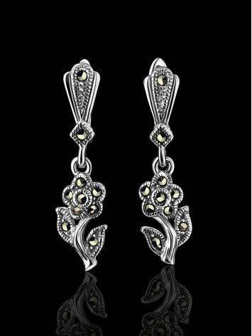 Silver Floral Dangles With Marcasites The Lace, image , picture 2