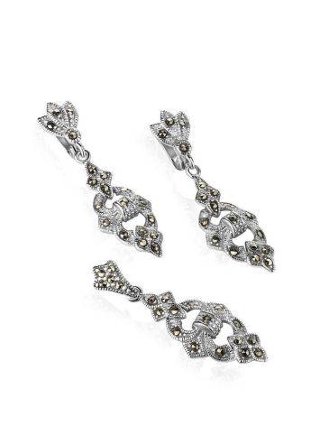 Elegant Silver Dangle Earrings With Marcasites The Lace, image , picture 4