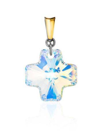 Crystal Cross Pendant In Gold Plated Silver The Fame, image