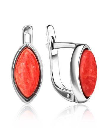Reconstructed Coral Latch Back Earrings In Sterling Silver The Amaranth, image