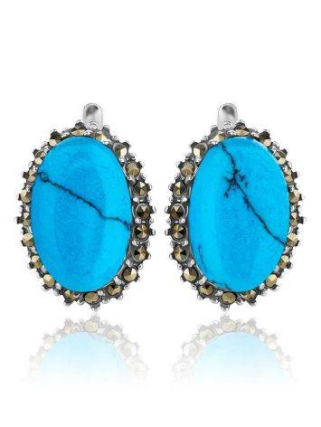 Silver Earrings With Oval Reconstructed Turquoise Centerstones And Marcasites, image , picture 4