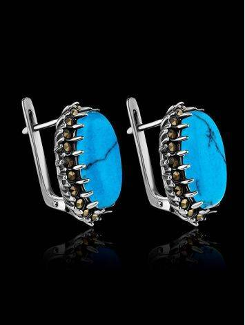 Silver Earrings With Oval Reconstructed Turquoise Centerstones And Marcasites, image , picture 2