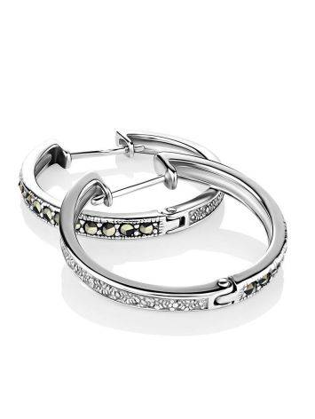 Silver Hoop Earrings With Marcasites The Lace, image , picture 3