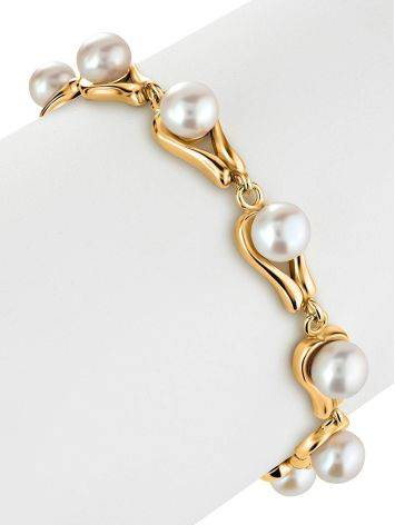 Gold-Plated Link Bracelet With Cultured Pearl The Serene, image , picture 3