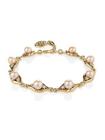 Gold-Plated Link Bracelet With Cultured Pearl And Crystals The Serene, image