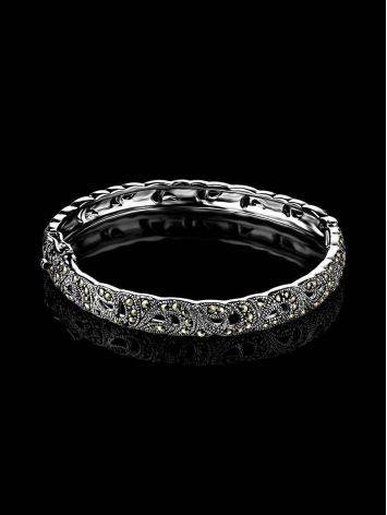Silver Hinged Bangle With Marcasites The Lace, image , picture 2