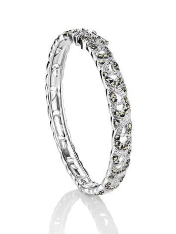 Silver Hinged Bangle With Marcasites The Lace, image