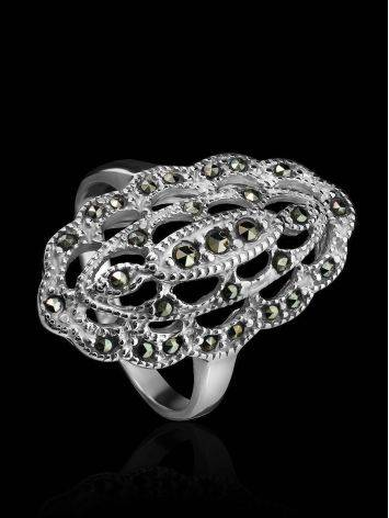 Silver Cocktail Ring With Marcasites The Lace, Ring Size: 6.5 / 17, image , picture 2