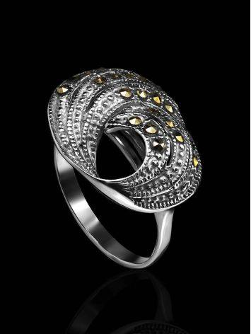 Silver Cocktail Ring With Marcasites The Lace, Ring Size: 8.5 / 18.5, image , picture 2